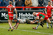 Bradford Bulls second row Elliot Minchella (12) scores a try  during the Betfred League 1 match between Keighley Cougars and Bradford Bulls at Cougar Park, Keighley, United Kingdom on 11 March 2018. Picture by Simon Davies.