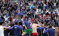 Photo: Paul Thomas.<br /> Wigan Athletic v Portsmouth. The Barclays Premiership. 29/04/2006.<br /> <br /> The Portsmouth team celebrate and thank their fans.