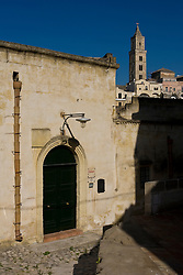 Matera, Basilicata, Italy - Walkway in Sasso Barisano district. The city is a World Heritage site.