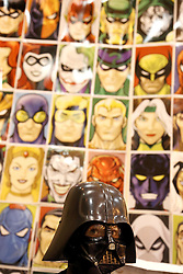 29 Jan 2012. New Orleans, Louisiana USA. <br /> Ben Varley (5 yrs) with row upon row of comic books and collectibles at the Wizard World New Orleans Comic Con at the Ernest N Morial Convention Center. <br /> Photo; Charlie Varley/varleypix.com