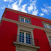 Europe, Portugal, Madeira. Colorful buidling of Funchal.