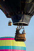 Three hot air balloons rise into a clear blue sky, Crown of Maine Balloon Fair, Presque Isle, Maine.