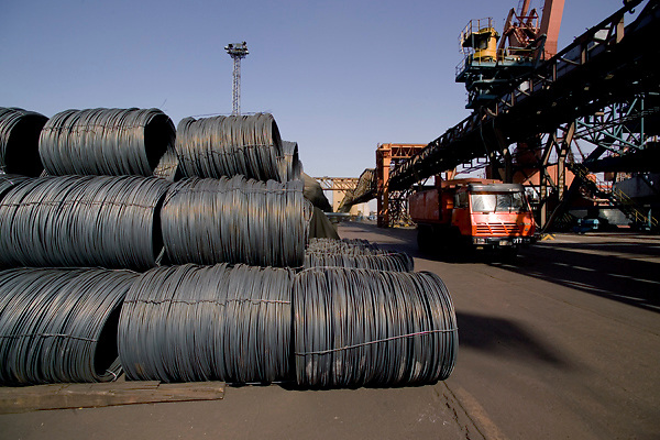 Tianjin, China,exporting, dock workers, Chinese, shipping, port, trucks, export, industrial, shipping hot rolled steel coils,