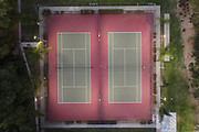 Vacant tennis courts at Sunnyslopes Park, Wednesday, June 18, 2020, in Monterey Park, Calif., amid the global coronavirus COVID-19 pandemic.