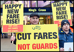 January 2, 2018 - London, United Kingdom - Activists and members of the RMT at Kings Cross Station protesting against the 3.4% increase in train fares. The protesters are calling for on rail companies to cut fares and not staff. (Credit Image: © Pete Maclaine/i-Images via ZUMA Press)