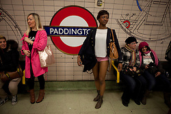 © Licensed to London News Pictures. 08/01/2012. London, U.K.. No trousers on the London underground, an event started in New York in by Improv Everything 2002 and now in January each year events take place in major cities around the world. The London route starts at Trafalgar Square and travels up the Bakerloo Line..Photo credit : Rich Bowen/LNP