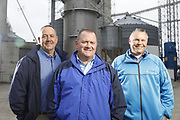 SHOT 10/29/18 9:55:14 AM - Sunrise Cooperative is a leading agricultural and energy cooperative based in Fremont, Ohio with members spanning from the Ohio River to Lake Erie. Sunrise is 100-percent farmer-owned and was formed through the merger of Trupointe Cooperative and Sunrise Cooperative on September 1, 2016. Photographed at the Clyde, Ohio grain elevator was George D. Secor President / CEO and John Lowry<br /> Chairman of the Board of Directors with  CoBank RM Gary Weidenborner. (Photo by Marc Piscotty © 2018)
