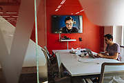 GUADALAJARA, MEXICO - MAY 11, 2017: A young man attends an online conference in Wizeline. Wizeline transforms how business design, develop and deliver technology products. Rodrigo Cruz for The New York Times