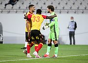 Goalkeeper of Lens Jean-Louis Leca (right) celebrates with Facundo Medina and Ismael Boura of Lens the victory following the French championship Ligue 1 football match between RC Lens (Racing Club de Lens) and Paris Saint-Germain (PSG) on September 10, 2020 at Stade Felix Bollaert in Lens, France - Photo Juan Soliz / ProSportsImages / DPPI