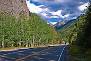 Cyclist on the San Juan Skyway (Highway 145) near Ophir, Uncompahgre National Forest, Colorado