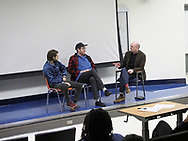 """Hempstead, New York, USA. October 30, 2017.  Film event of screening of SYLVIO, a fantasy feature film, and Q&A with ALBERT BIRNEY, KENTUCKER AUDLEY, and moderator RUSSELL HARBAUGH, is hosted by the Radio, Television, Film Department of the Lawrence Herbert School of Communication of Hofstra University, at Breslin Hall. Birney is gorilla Sylvio Bernardi, and Audley co-stars as a talk show host, and they're the film's directors, and, with Meghan Doherty, its screenwriters. SYLVIO originated as a Vine character created by Birney. """"SYLVIO, a film festival favorite, is about an ordinary gorilla trying to live a simple life."""""""