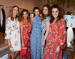 Left to right, Lavinia Brennan, Niomi Smart,, Sarah Ann Macklin, Lady Natasha Rusfus Isaacs and Rosanna Falconer at the launch of the Beulah Flagship store, 77 Elizabeth Street, London England. 16 May 2018.