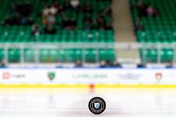 Official puck during ice hockey match between HK SZ Olimpija Ljubljana and Steinbach Black Wings Linz in bet-at-home ICE Hockey League, on September 26, 2021 in Hala Tivoli, Ljubljana, Slovenia. Photo by Morgen Kristan / Sportida