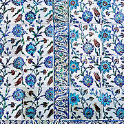 Ornate ceramic tiles lining the walls of the Audience Chamber (also known as the Chamber of Petitions) (in Turkish: Arz Odası). This served as the main throne room of the Topkapi Palace.