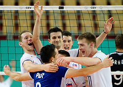Tine Urnaut, Miha Plot, Mitja Gasparini, Alen Pajenk and Vid Jakopin of Slovenia celebrate during volleyball match between National Teams of Slovenia and Belgium of 2011 CEV Volleyball European League Men - Pool A, on July 9, 2011, in  Arena Ljudski vrt Lukna, Maribor, Slovenia. Slovenia defeated Belgium 3-1. (Photo by Vid Ponikvar / Sportida)