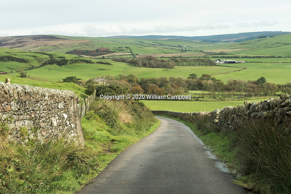 Stone walls on the road to Mull of Kintyre in southwest Scotland.