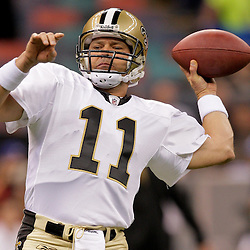 2009 September 13: New Orleans Saints quarterback Mark Brunell (11) in warm ups before a week one regular season game between the New Orleans Saints and the Detroit Lions at the Louisiana Superdome in New Orleans, Louisiana.