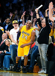 File photo of The crowd celebrates a shot by the Los Angeles Lakers' Kobe Bryant (24) on April 13, 2016, at Staples Center in Los Angeles, Calif. (Wally Skalij/Los Angeles Times/TNS/ABACAPRESS.COM)