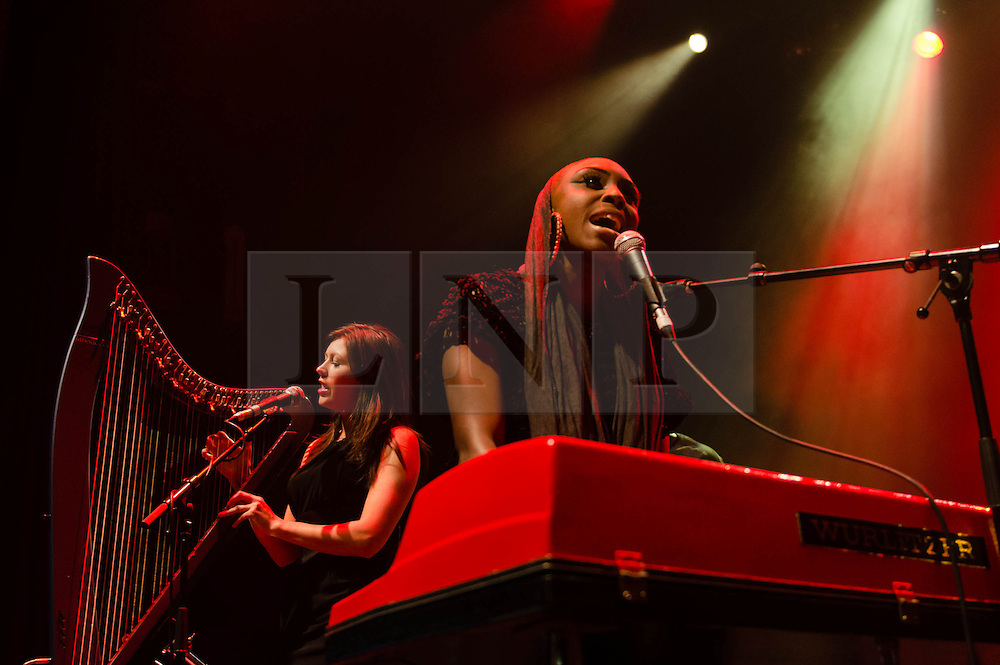 """© Licensed to London News Pictures. 13/03/2013. London, UK.   Laura Mvula performing live at O2 Shepherds Bush Empire, supporting headliner Jessie Ware.   Laura Mvula (née Doublas) is a British soul singer-songwriter from Birmingham.  Her debut album """"Sing to the Moon"""" was released on 4 March 2013.   Photo credit : Richard Isaac/LNP"""