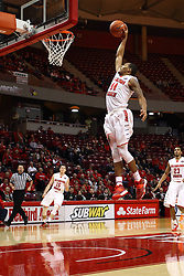 21 November 2015: DeVaughn Akoon-Purcell(44) flies in for another dunk. Illinois State Redbirds host the Houston Baptist Huskies at Redbird Arena in Normal Illinois (Photo by Alan Look)