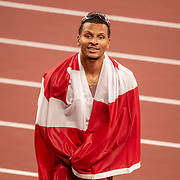 TOKYO, JAPAN August 1:   Andre de Grasse of Canada after winning the bronze medal in the100m final during the Track and Field competition at the Olympic Stadium  at the Tokyo 2020 Summer Olympic Games on July 31, 2021 in Tokyo, Japan. (Photo by Tim Clayton/Corbis via Getty Images)