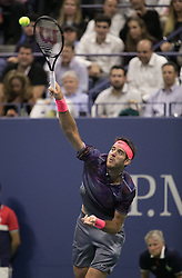 September 6, 2017 - Flushing Meadows, New York, U.S - Juan Martin del Potro  plays on Day Ten of the 2017 US Open against Roger Federer at the USTA Billie Jean King National Tennis Center on Wednesday September 5, 2017 in the Flushing neighborhood of the Queens borough of New York City. Del Potro defeats Federer, 7-5, 3-6, 7-6(10-8), 6-4. JAVIER ROJAS/Pi (Credit Image: © Prensa Internacional via ZUMA Wire)