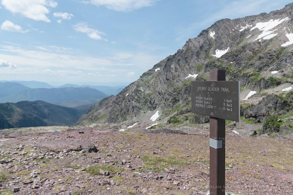 Comeau Pass trail sign, Glacier National Park