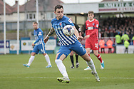 Nathan Thomas (Hartlepool United) takes a shot during the EFL Sky Bet League 2 match between Hartlepool United and Carlisle United at Victoria Park, Hartlepool, England on 14 April 2017. Photo by Mark P Doherty.
