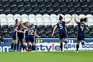 Scotland players celebrate Scotland's second goal (2-0) scored by Kim Little (#8) of Scotland during the 2019 FIFA Women's World Cup UEFA Qualifier match between Scotland Women and Switzerland at the Simple Digital Arena, St Mirren, Scotland on 30 August 2018.