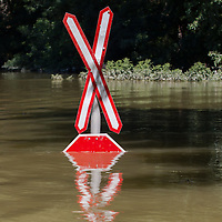Traffic sign is submerged in the floodwater in the forest in Gemenc (about 218 km South of the capital city Budapest), Hungary on June 14, 2013. ATTILA VOLGYI