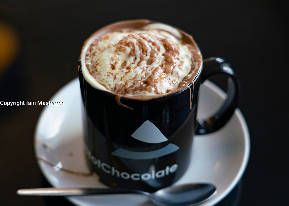 Hot chocolate drink at Cocoa Mountain cafe , Balnakeil Craft Village, Durness on the North Coast 500 scenic driving route in northern Scotland, UK