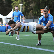 BERKELEY, CA - NOVEMBER 08:  Andrew Battaglia #4 of California scores a try during the PAC Rugby 7's Championship between UCLA and California at Witter Rugby Field at the University of California on November 8, 2015 in Berkeley, California. California won the match by a score of 17-5. (Photo by Alex Menendez/Getty Images) *** Local Caption *** Andrew Battaglia