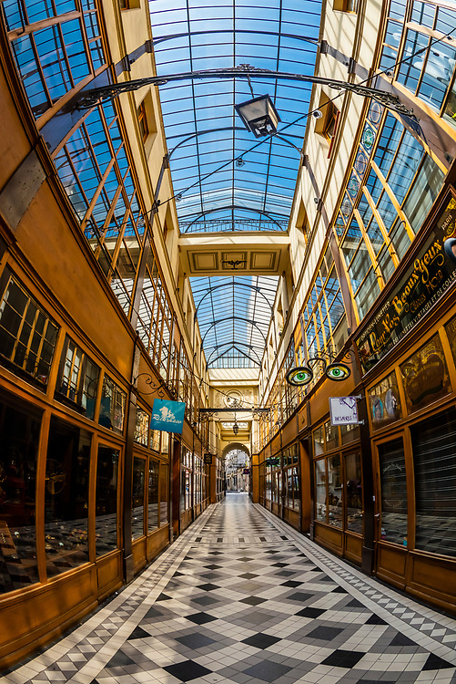 The shopping arcade Passage du Grand Cerf, built in 1825, Paris, France.