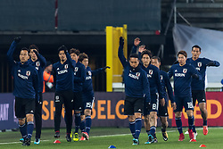 the players of Japan at the warming up during the friendly match between Belgium and Japan on November 14, 2017 at the Jan Breydel stadium in Bruges, Belgium.
