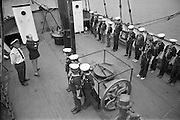 """Sea Scouts aboard the Lightship """"Albatross""""..1972..22.07.1972..07.22.1972..22nd July 1972..Pictured aboard the """"Albatross"""" the Sea Scouts stand at attention for presentation to Mr Brendan O'Kelly,Chief Executive,Bord Iascaigh Mhara (BIM).."""