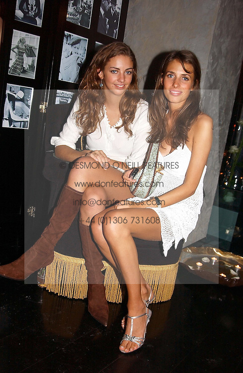Left to right, ROSE HANBURY and MARINA HANBURY at Tatler Magazine's Summer Party held at the Baglioni Hotel, 60 Hyde Park Gate, London SW7 on 1st July 2004.