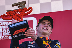 May 12, 2019 - Barcelona, Catalonia, Spain - MAX VERSTAPPEN (NED) from team Red Bull celebrates his third place the Spanish GP presenting his cup on the podium at the Circuit de Barcelona - Catalunya (Credit Image: © Matthias Oesterle/ZUMA Wire)