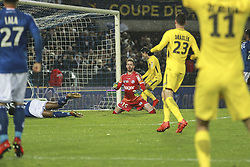 December 13, 2017 - Strasbourg, France - Edison Cavani  of PSG celebrates after scoring a goal under the look of Strasbourg's French goalkeeper Alexandre Oukidja (2nd-R) during the French League Cup round of 16 football match between Strasbourg (RCSA) and Paris-Saint-Germain (PSG) on December 13, 2017 at the Meinau stadium in Strasbourg, eastern France. (Credit Image: © Elyxandro Cegarra/NurPhoto via ZUMA Press)