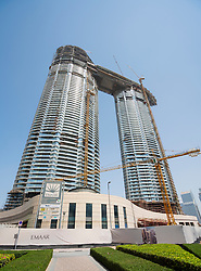 Construction of new high rise luxury apartment building at Downtown Dubai, UAE, United Arab Emirates