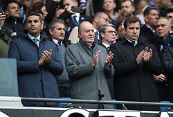 Manchester City chiarman Khaldoon Al Mubarak (left), Former King of Spain Juan Carlos and chief executive Ferran Soriano (right) during the Premier League match at the Etihad Stadium, Manchester.