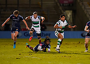 Newcastle Falcons centre Matias Orlando evades the tackle of Sale Sharks wing Marland Yarde during a Gallagher Premiership Round 12 Rugby Union match, Friday, Mar 05, 2021, in Eccles, United Kingdom. (Steve Flynn/Image of Sport)