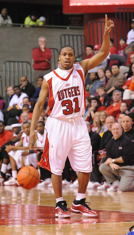 Jan 31, 2009; Piscataway, NJ, USA; Rutgers guard Mike Coburn (31) calls a play during the first half of Rutgers' 75-56 victory over DePaul in NCAA college basketball at the Louis Brown Athletic Center