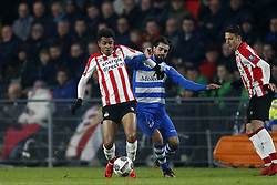 (L-R), Donyell Malen of PSV, Youness Mokhtar of PEC Zwolle during the Dutch Eredivisie match between PSV Eindhoven and PEC Zwolle at the Phillips stadium on February 03, 2018 in Eindhoven, The Netherlands