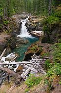 Silver Falls on the Ohanapecosh River in Mount Rainier National Park in Washington State, USA.