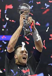 New England Patriots quarter Tom Brady celebrates as the Patriots beat the Atlanta Falcons 34-28 in Super Bowl LI on Sunday, February 5, 2017 at NRG Stadium in Houston, TX, USA. Photo by Curtis Compton/Atlanta Journal-Constitution/TNS/ABACAPRESS.COM