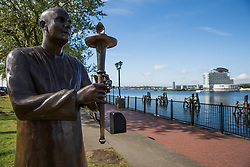 Cardiff, UK. 2nd May, 2017. The Sri Chinmoy World Harmony Peace Statue is pictured alongside Cardiff Bay. The statue was donated to the city of Cardiff by the annual World Harmony Run to mark its 25th anniversary.
