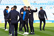 Anthony Hartigan (8) of AFC Wimbledon and Tommy Wood (22) of AFC Wimbledon before the EFL Sky Bet League 1 match between Portsmouth and AFC Wimbledon at Fratton Park, Portsmouth, England on 1 January 2019.