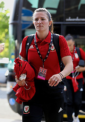 NEWPORT, WALES - Tuesday, June 12, 2018: Wales' Helen Ward arrives before the FIFA Women's World Cup 2019 Qualifying Round Group 1 match between Wales and Russia at Newport Stadium. (Pic by David Rawcliffe/Propaganda)