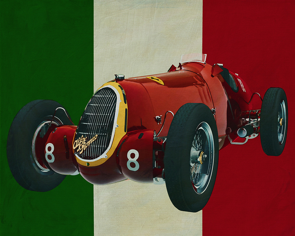 Alfa Romeo 8c from 1935 is an exceptional racing car introduced by the Italian carmaker Alfa Romeo. Of course this Alfa is not a car for daily use but built for the race track. Remarkable is its huge engine which led this 1935 Alfa Romeo 8c to many victories.<br /> <br /> This painting of the 1935 Alfa Romeo 8c can be printed on different materials and different sizes. -<br /> <br /> BUY THIS PRINT AT<br /> <br /> FINE ART AMERICA<br /> ENGLISH<br /> https://janke.pixels.com/featured/alfa-romeo-8c-from-1935-pure-power-jan-keteleer.html<br /> <br /> <br /> WADM / OH MY PRINTS<br /> DUTCH / FRENCH / GERMAN<br /> https://www.werkaandemuur.nl/nl/werk/Alfa-Romeo-8c-uit-1935-met-de-Italiaanse-vlag/636854/134?mediumId=1&size=70x55