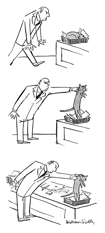 (A man moves a cat from his in-tray and puts it in his out-tray)